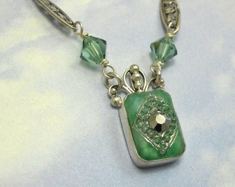 1920s Art Deco Vintage Jade Green and Gold Glass Stone Necklace set in Sterling Silver with Green Swarovski Drops #663