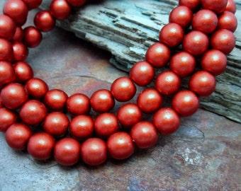 Rusty Matte Metallic Druk 6mm Beads