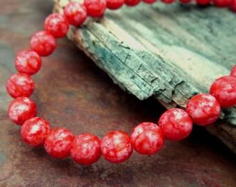 Marbled Reds Druk 6mm Beads