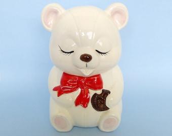Vintage White Teddy Bear Cookie Jar
