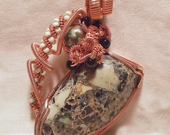 Ware-able Art - Handmade - Landers County Analog Turquoise - Copper Wire Wrapped Pendant