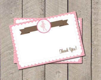 Cowgirl Thank You Note - Pink & Brown Cowgirl Thank You Card - Digital Printable Thank You - Western Theme