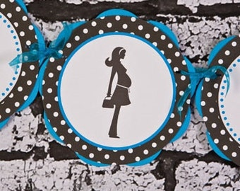 Baby Shower Decorations - IT'S A BOY Baby Shower Banner - Aqua Blue & Black Polka Dot Baby Shower Decorations