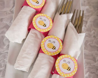Napkin Rings - Silverware Wraps - Bee Theme - Happy Birthday Party and Baby Shower Decorations in Yellow & Pink (12)