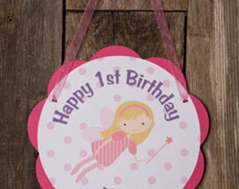 Fairy Themed Happy Birthday Party Sign - Fairy Door Hanger - Fairy Birthday Party Decorations in Hot Pink and Purple