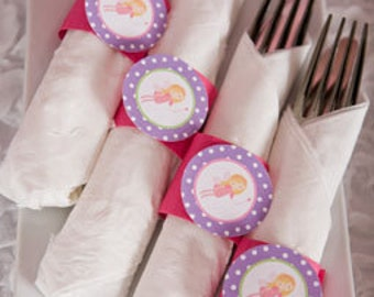 Fairy Birthday Party - Napkin Rings - Silverware Wraps - Fairy Party Decorations in Pink & Purple (12)