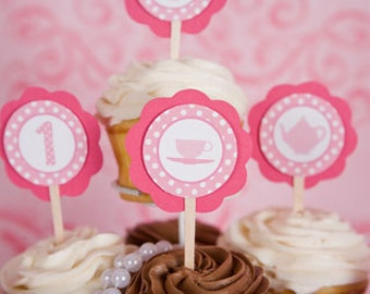 Tea Party Cupcake Toppers - Teapot Birthday Decorations - Tea Party Theme in Hot and Light Pink