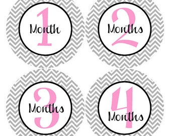 Girl Monthly Stickers - Girl Baby Monthly Stickers - Pink and Grey Chevron Girl Month Stickers - Carmen