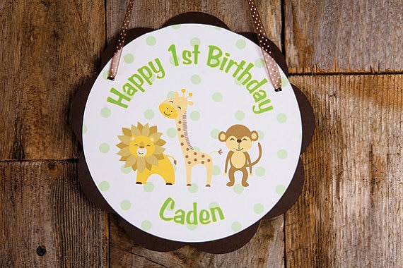Jungle Theme Happy Birthday Door Hanger Party Sign - Monkey Lion Giraffe - King of the Jungle Decorations