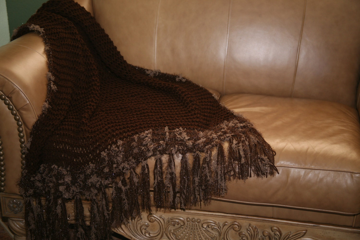 Items Similar To Handknit Dark Brown Couch Throw Blanket