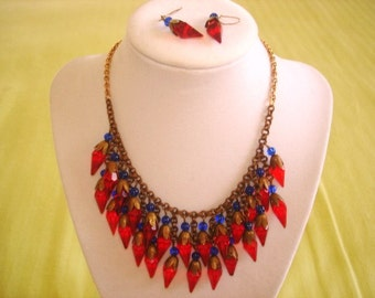 """Crystal Red Blue Beads Necklace Earrings 18"""""""