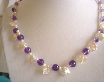"10K Gold Keishi Cornflake FW  Pearl Amethyst Necklace 18.5"" x .5"