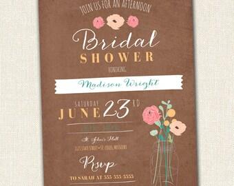 Bridal Shower Invitation - Mason Jar Floral