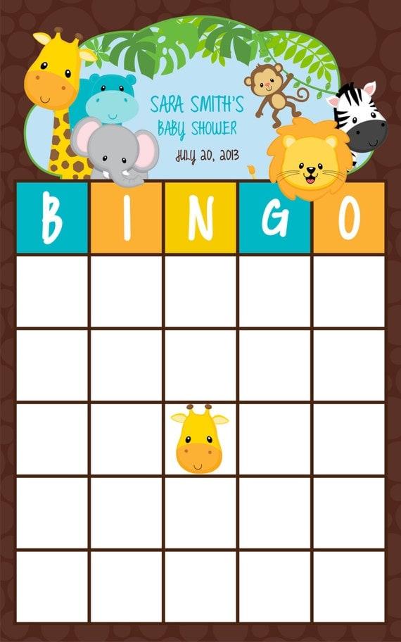 Items Similar To 5 5x8 5 Bingo New Jungle Baby Shower Game