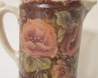 Quite Old Pottery Pitcher, Unique Shape, Hand Painted by MontanaRosePainter, Warm  Rose Tones