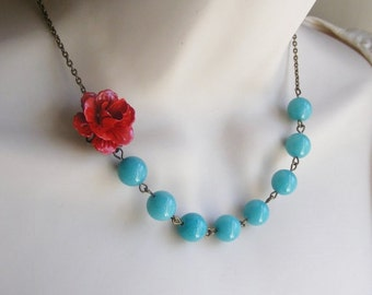 Red and Turquoise Necklace. Flower Necklace. Turquoise Statement Necklace. Bridal Jewelry. Bridesmaid Necklace. Beaded Necklace