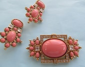Elizabeth Taylor for Avon Sea Coral Collection signed brooch & earrings set