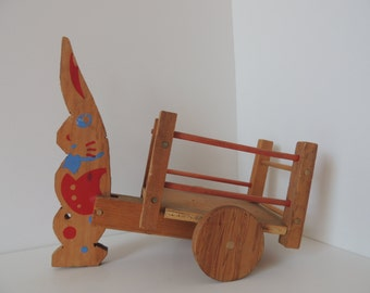 Primitive Wooden Bunny Rabbit Pulling A Cart Toy. Handcrafted Painted Rabbit Pull Toy. Rabbit and Cart Child's Toy