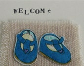 Baby congratulations - greetings card - hand sewn card