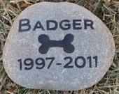Dog Pet Memorial Stone with Dog Bone Headstone Grave Marker Burial Stone Marker 6-7 Inch