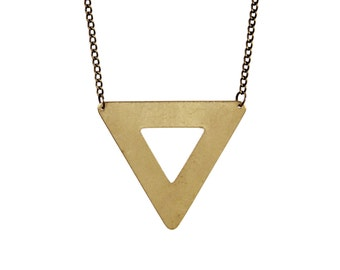 Brass Triangle Outline Necklace