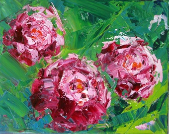 "Three of a Kind, an original oil painting by Yvonne Wagner. Peonies. Peony. 8 x 10 x 3/4 inch. Savings on 3 (8 x 10"") paintings of Peonies."