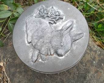 Vintage Rabbit And Flower Design Soft Patina Pewter Tin 1960s