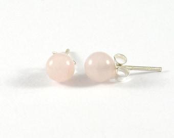 Rose Quartz Stud Earrings 6mm., Rose Quartz with Silver Post Earrings, Rose Quartz Earrings, Classic Earrings, Stone Earrings