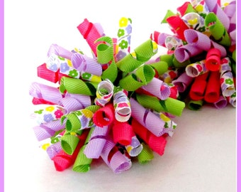 Bright Spring Flowers Korker Hair Bows -Set of 2- Girls Bows- Infant Bows- Toddler Bows- Hot Pink, Lilac Purple, Apple Green, Flowers