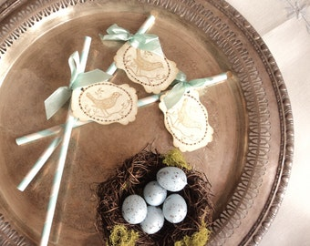 For the Birds. 10 Robin's Egg Blue and White Paper Straws with Bird Tags