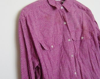 vintage 90s oversized slouchy fit polka dot espirt shirt small