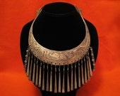 HUGE Antique Egyptian Revival Heavy Silver Tone Floral Elephant Etched Fringe Hook Collar Torque Necklace