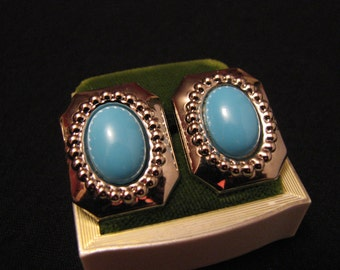 Vintage Square Silver Tone and Robins Egg Blue Lucite Stone Pierced Earrings