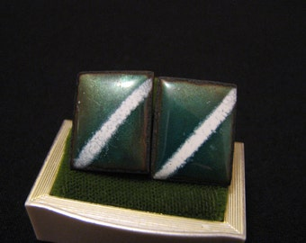 Vintage Square Solid Copper and Emerald Green Glitter Enameled Screwback Earrings
