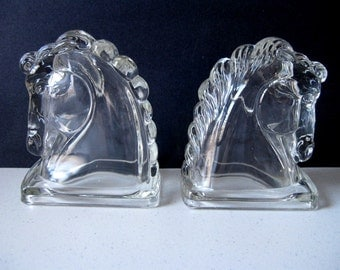 Vintage glass horse head bookends  Mid-century Federal Glass equestrian bookends