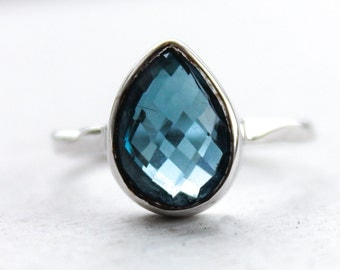 Silver London Blue Topaz Gemstone Ring - Teardrop Stone - Stacking Ring