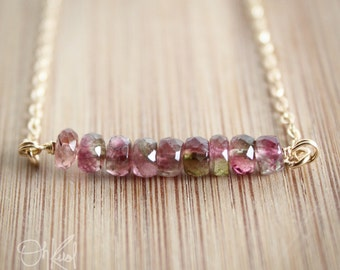 Watermelon Tourmaline Necklace - Juicy Pink and Melon Green - 14K Gold Fill, Rare