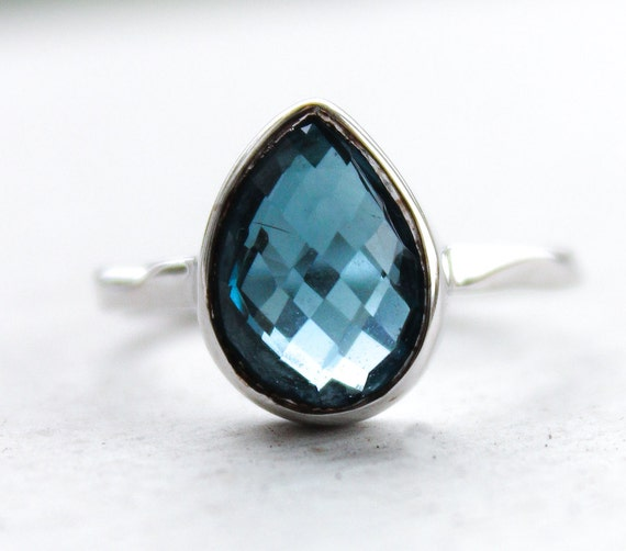Silver London Blue Topaz Gemstone Ring - Teardrop Stone - Stacking Ring