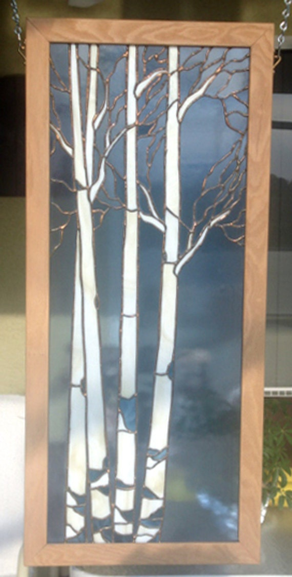 5 Christmas Discounts High Quality Modern Wooden Door: Stained Glass ASH TREE Wall Hanging Use By StainedGlassandPens