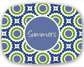 Personalized Melamine Platter--Summer Blues (Blue and Green)