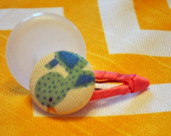 Cute blue bird button barrette with pink accent for baby girl or toddler