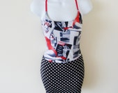 Swimsuit - Maillot Skirted - Bathing Suit - Convertible - Rockabilly - Recycled - Pin Up Retro - Polka Dot - Black Red - White - UNIQUE