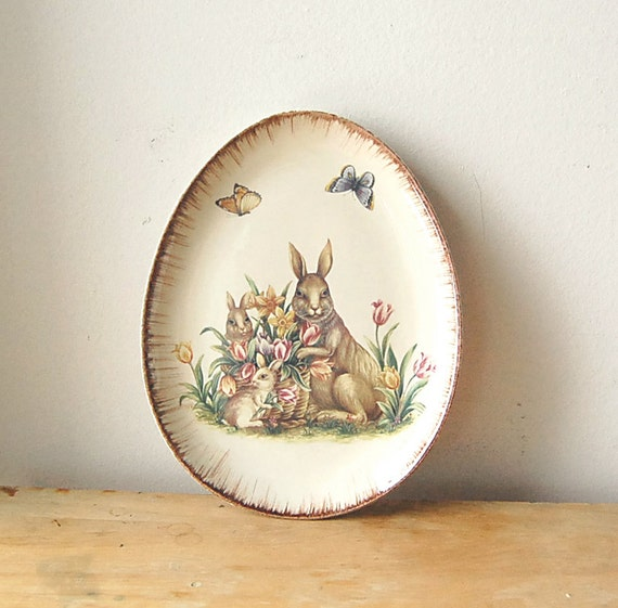 Vintage Egg Shaped Easter Bunny Rabbit With Butterflies And