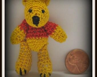 "Tiny 2 1/4""  Pooh Bear: Mini Crocheted Thread Art Micro Miniature Amigurumi"