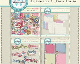 Digital Scrapbook Butterflies In Bloom Bundle