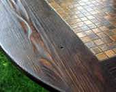 """Circle Coffee Table, Tile Mosaic, Reclaimed Wood, Rustic Contemporary, """"Copper Sunset"""", Dark Brown Waxed Finish - Handmade"""