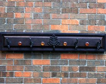 Wooden Coat Rack. Wood Coat Rack. Wood Entryway Rack. Wood Hallway Rack. Mudroom Storage. 46 w x 8 t x 2 d.  Brown & Black Finish.