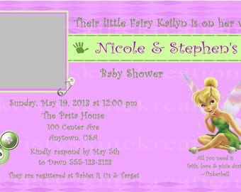 Disney's Tinkerbell Baby Shower Invitation OR Thank you card