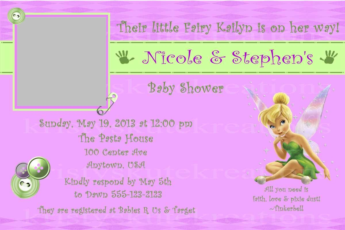 disney 39 s tinkerbell baby shower invitation or thank you