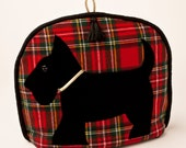 Scottie Dog on Tartan Plaid Tea Cozy/ Cosy / Royal Stewart Tartan with Tassel